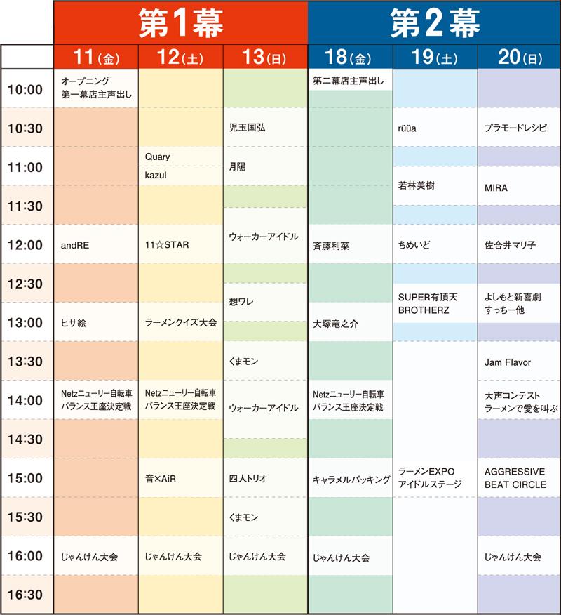 ステージ・タイムスケジュール