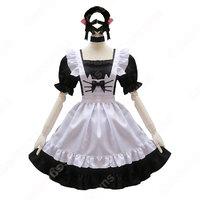 【costowns】可愛い猫耳メイドな定番型メイド服 4点セット 半袖 ワンピース メイドコスチューム