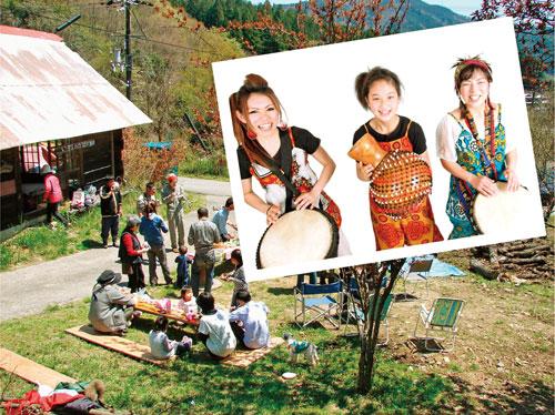 能勢の里山で山菜パーティーとMafoloのライブ