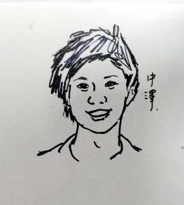 中澤選手の似顔絵