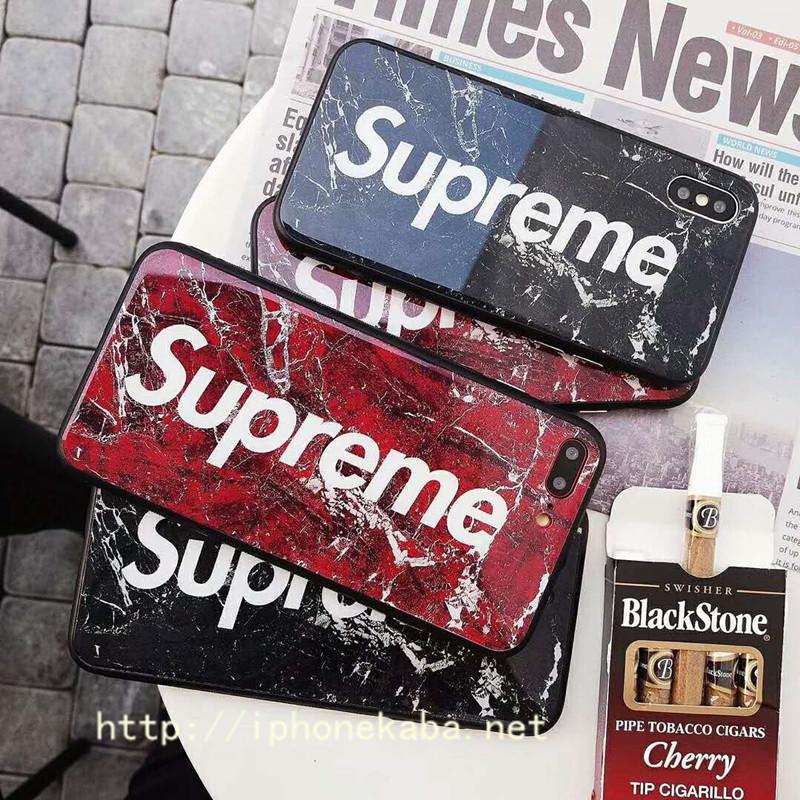 ブランド シュプリーム iPhone xケース マーブル紋 カップル アイフォン8カバー