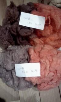 茜、桜で染めた羊毛♪