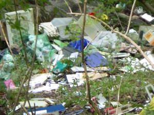 不法投棄は犯罪です! 府道43号線から公園内斜面へ大量の不法投棄がありました。