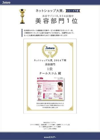 「ネットショップ大賞2014下期 美容部門1位」に輝きました,゜.:。+゜☆,゜.:。+゜