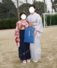 卒業式での親子着物ショット