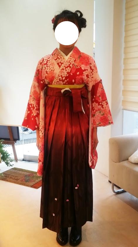 高校生の袴を着付けました