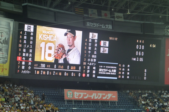 千代崎・京セラドーム大阪 「オリックス 対 阪神」 メッセンジャー力投も恵まれずサヨナラ負け!