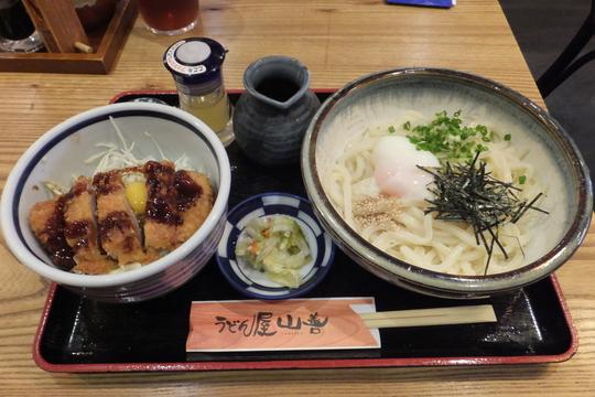 豊中・服部天神 「うどん屋 山善」 日替わりのソースかつ丼と温玉ぶっかけ!
