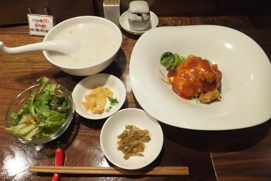 吹田・江坂 「清粥小菜 明」 若鶏の卵のオムレツチリソース掛け!