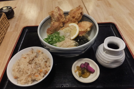 西・阿波座 「花鳥風月庵」 大阪好っきゃ麺6 第9弾 とり天ぶっかけ定食!