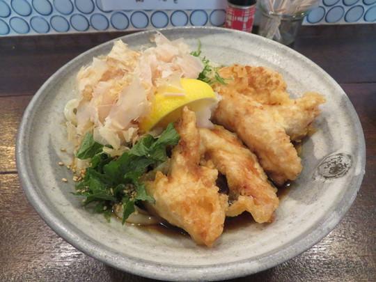 神戸・住吉 「うどん 花菜(はなな)」 しっかりコシのある旨いうどんの鶏天ぶっかけと〆鯖寿司のセット!