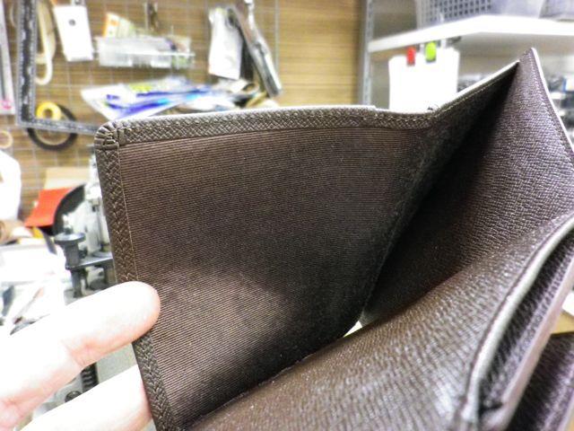 ルイ・ヴィトン ダミエ×3つ折り財布×札入れ部分内張交換