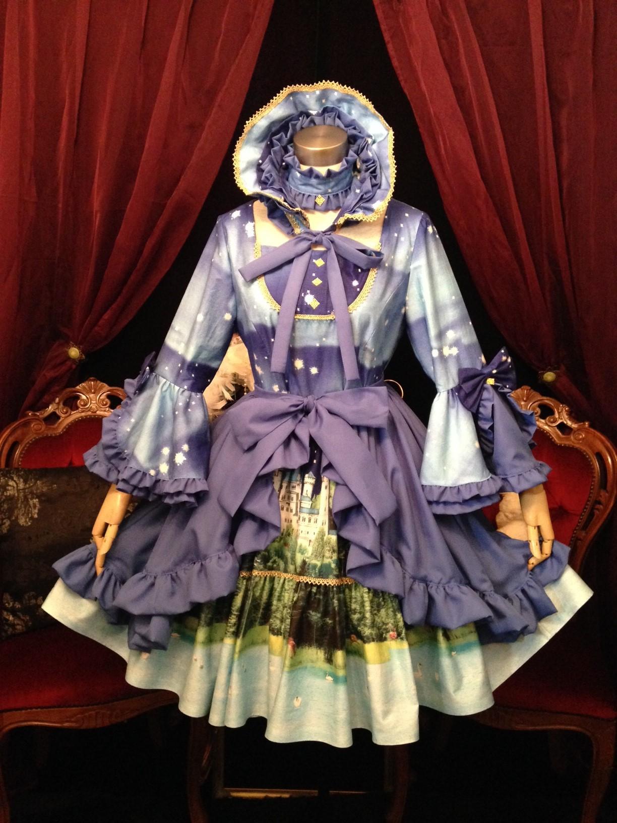 原宿ドールズ ゴスロリ生地でロリータ姫袖ドレス&ボンネット 完成!!ロリータ体験 コスプレ体験 ぽっちゃり